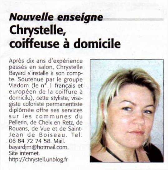 Presse CHRYSTELLE Coiffeuse Domicile